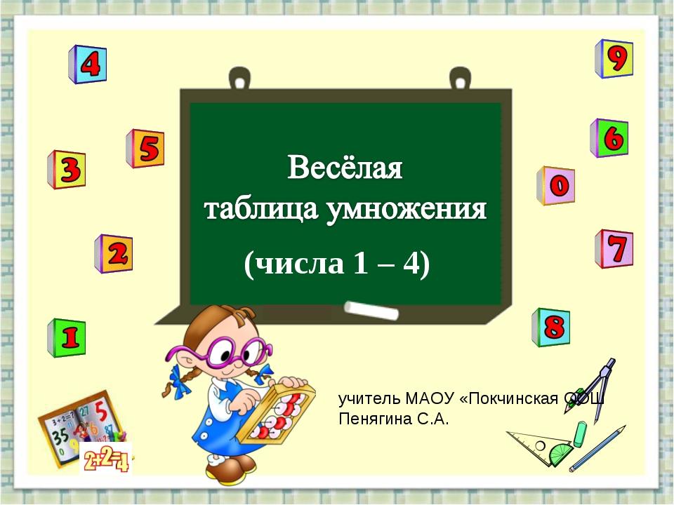 (числа 1 – 4) учитель МАОУ «Покчинская ООШ Пенягина С.А.