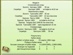 Медали Олимпийские игры ЗолотоКалгари 198830 км СереброКалгари 1988эстафе