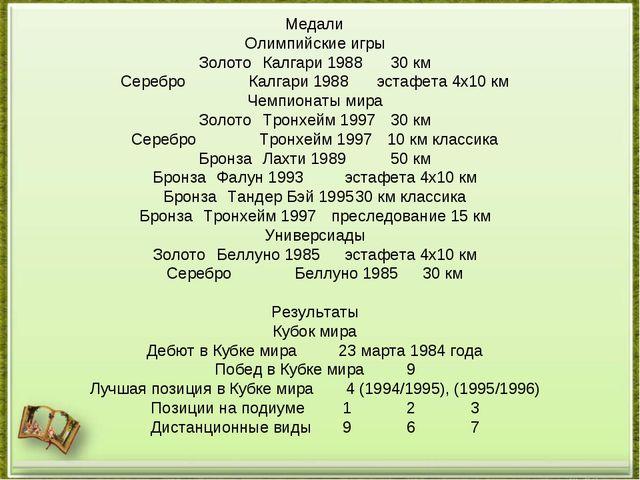 Медали Олимпийские игры ЗолотоКалгари 198830 км СереброКалгари 1988эстафе...