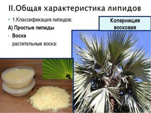 1.Классификация липидов: А) Простые липиды Воска растительные воска: Коперниц