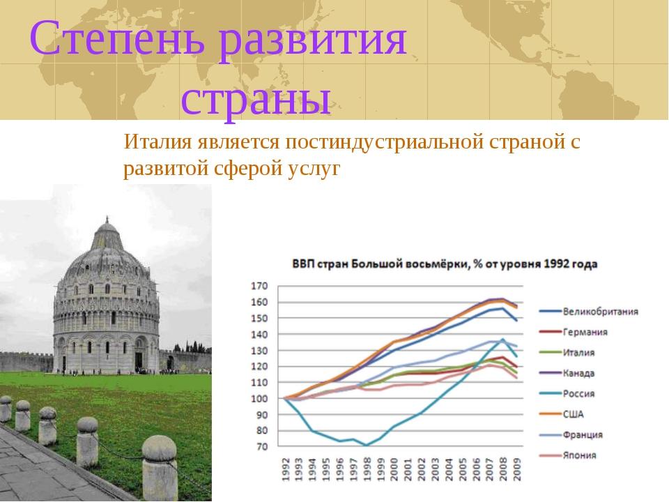 Степень развития страны Италия является постиндустриальной страной с развитой...