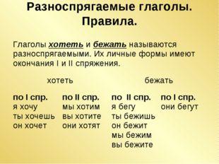 Разноспрягаемые глаголы. Правила. Глаголы хотеть и бежать называются разноспр