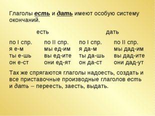 Глаголы есть и дать имеют особую систему окончаний.  естьдать по I спр. я