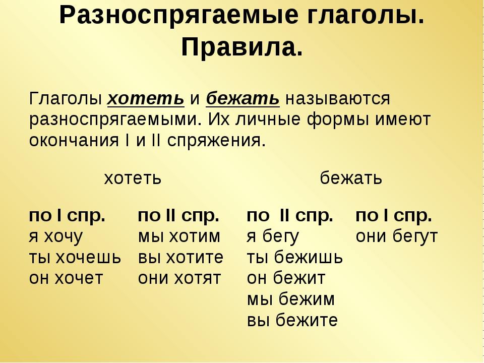 Разноспрягаемые глаголы. Правила. Глаголы хотеть и бежать называются разноспр...