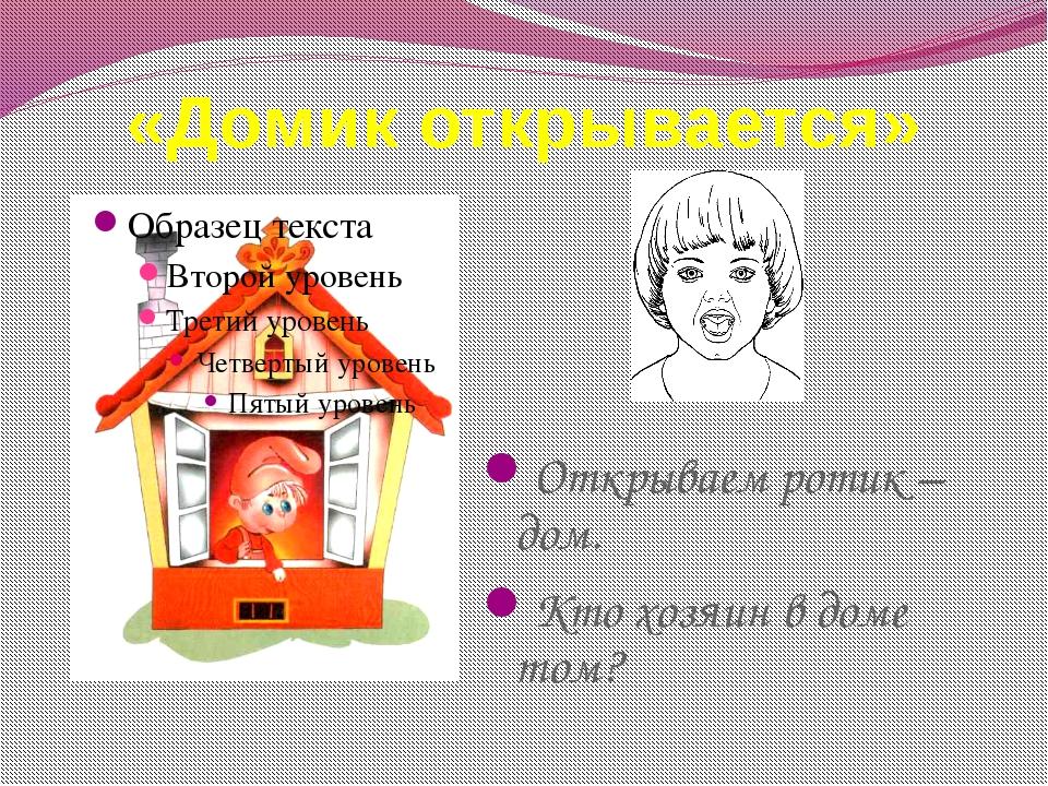 «Домик открывается» Открываем ротик – дом. Кто хозяин в доме том?