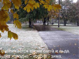 Приближается время снега и льда. Будет холодно – короче - зима.