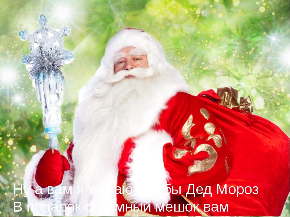 Ну а вам я желаю, чтобы Дед Мороз В подарок огромный мешок вам принес,