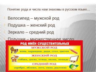 Понятие рода и числа нам знакомы в русском языке… Велосипед – мужской род Под