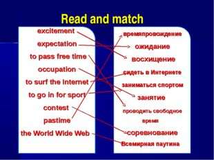 Read and match excitement expectation to pass free time occupation to surf th