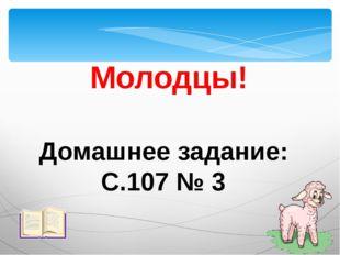 Молодцы! Домашнее задание: С.107 № 3