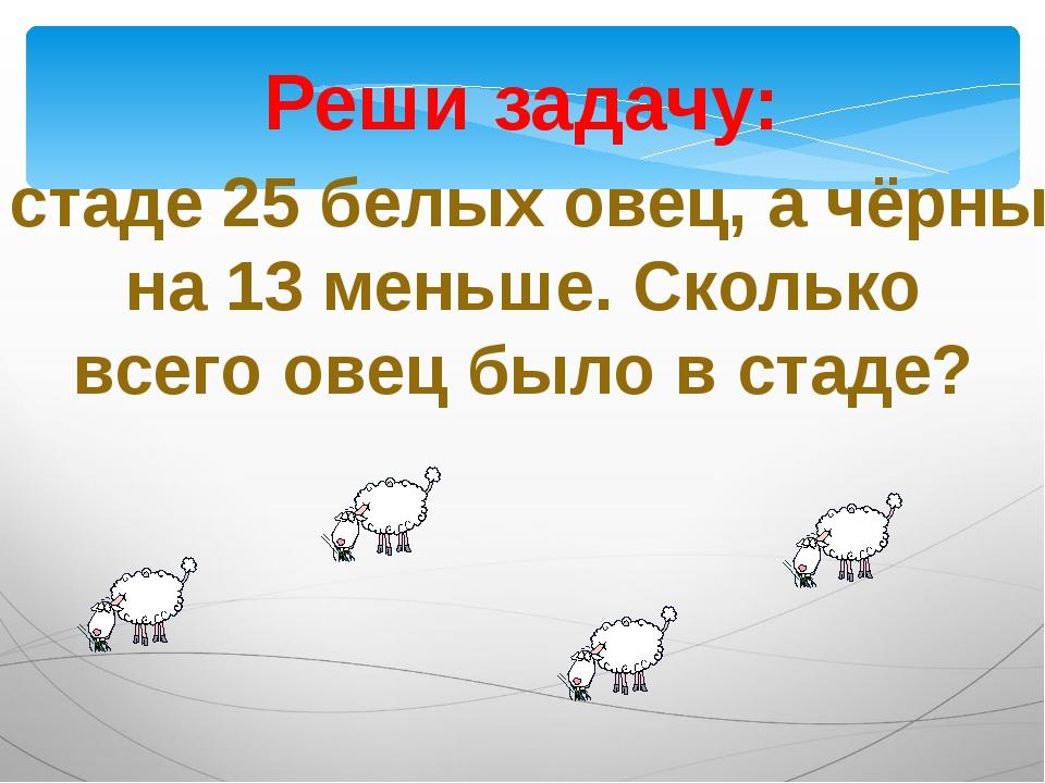 Реши задачу: В стаде 25 белых овец, а чёрных на 13 меньше. Сколько всего овец...