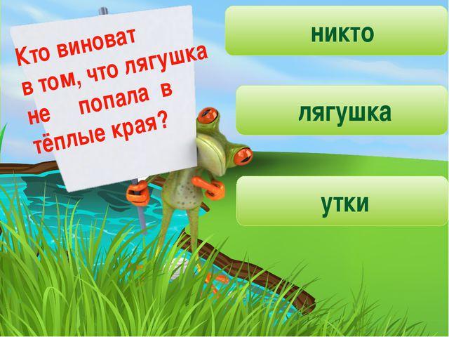 Кто виноват в том, что лягушка не попала в тёплые края? никто лягушка утки