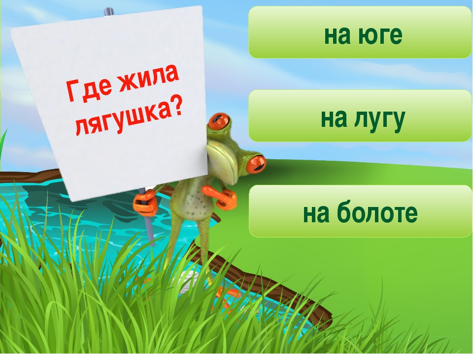 Где жила лягушка? на юге на лугу на болоте