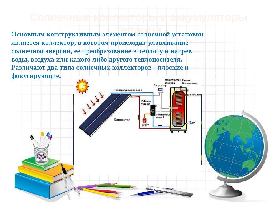 Солнечные коллекторы и аккумуляторы теплоты Основным конструктивным элементо...