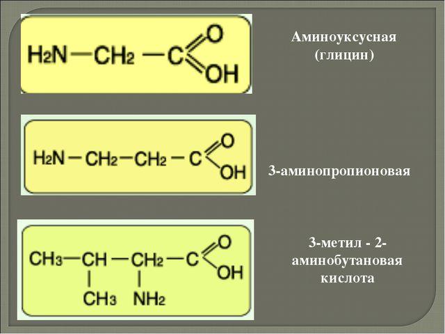 Аминоуксусная (глицин) 3-аминопропионовая 3-метил - 2-аминобутановая кислота