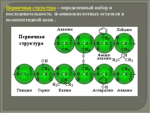 Первичная структура – определенный набор и последовательность -аминокислотны...
