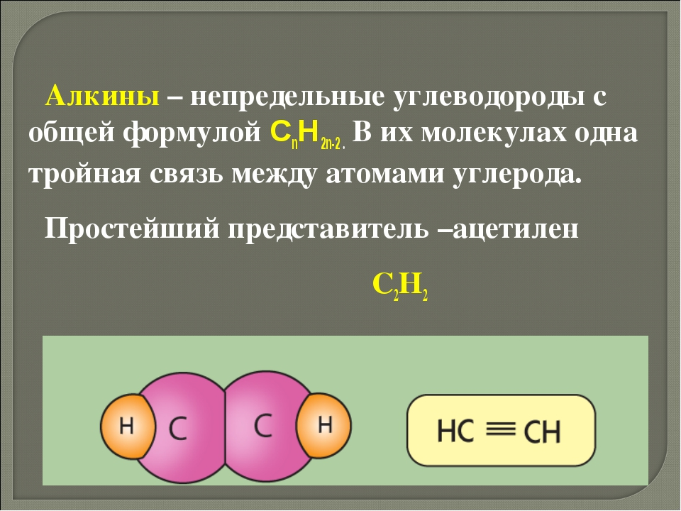 Алкины – непредельные углеводороды с общей формулой CnH2n-2 . В их молекулах...