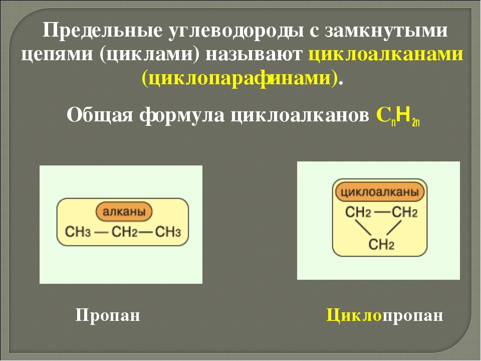 Предельные углеводороды с замкнутыми цепями (циклами) называют циклоалканами...