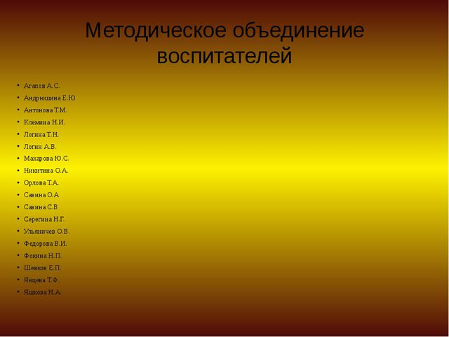 Методическое объединение воспитателей Агапов А.С. Андрюшина Е.Ю Антонова Т.М....