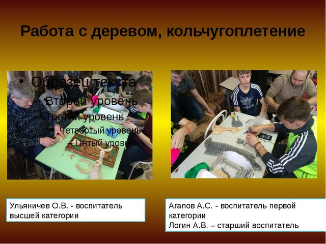 Работа с деревом, кольчугоплетение Ульяничев О.В. - воспитатель высшей катего...