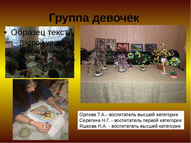 Группа девочек Орлова Т.А.- воспитатель высшей категории Серегина Н.Г. - восп...