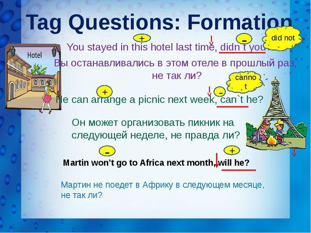 Tag Questions: Formation Мартин не поедет в Африку в следующем месяце, не так...