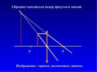 Изображение – прямое, увеличенное, мнимое. 2.Предмет находиться между фокусом