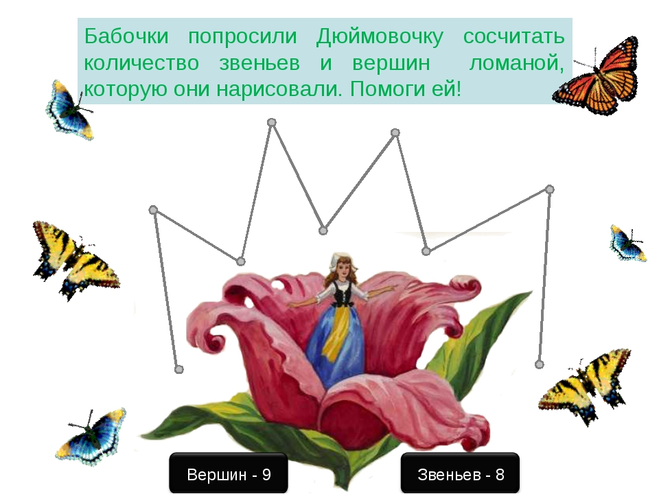 Бабочки попросили Дюймовочку сосчитать количество звеньев и вершин ломаной, к...