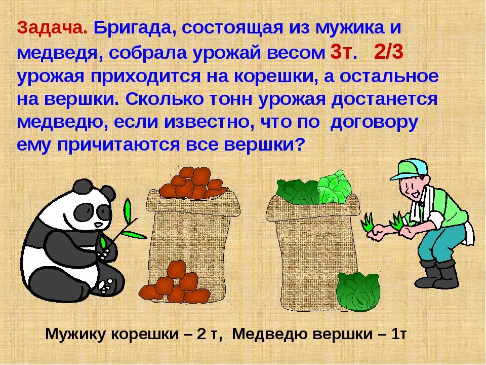 Задача. Бригада, состоящая из мужика и медведя, собрала урожай весом 3т. 2/3...