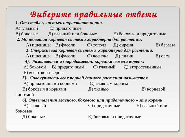 Выберите правильные ответы 1. От стебля, листьев отрастают корни: А) главный...