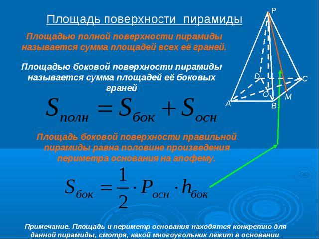 Площадь поверхности пирамиды Площадью полной поверхности пирамиды называется...
