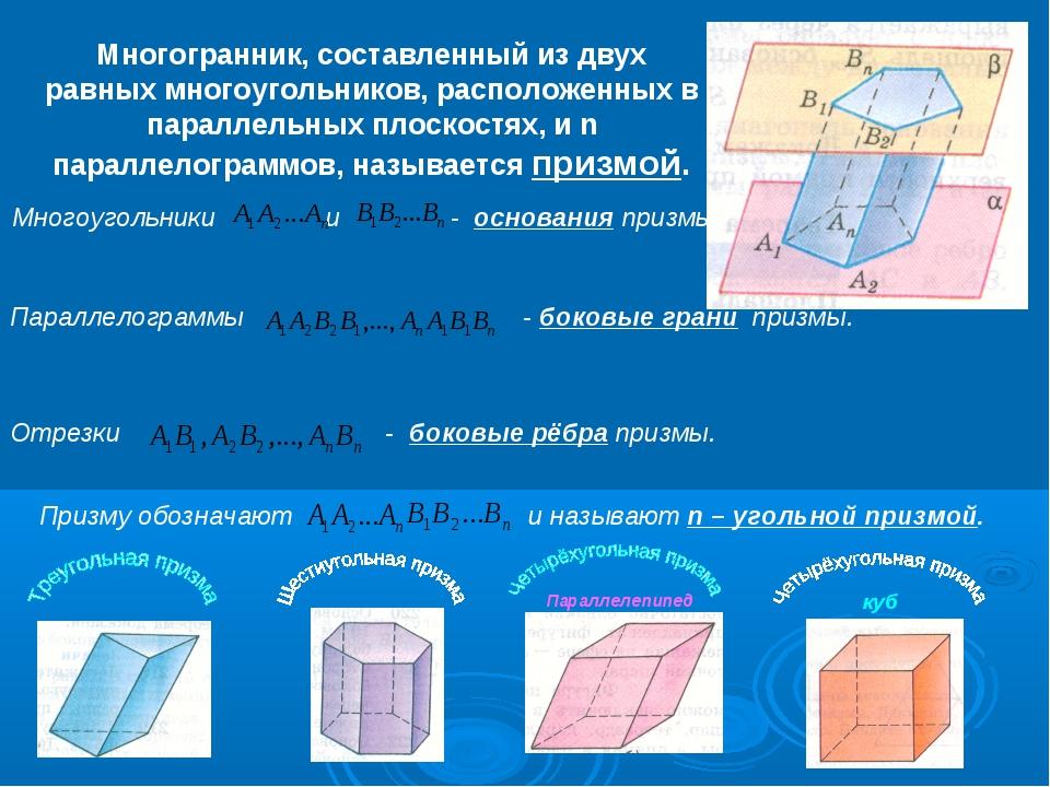Многогранник, составленный из двух равных многоугольников, расположенных в па...