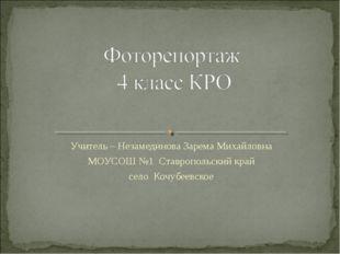 Учитель – Незамединова Зарема Михайловна МОУСОШ №1 Ставропольский край село К