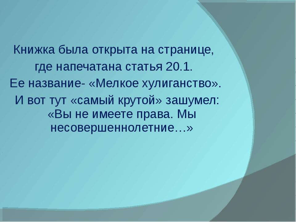 Книжка была открыта на странице, где напечатана статья 20.1. Ее название- «Ме...