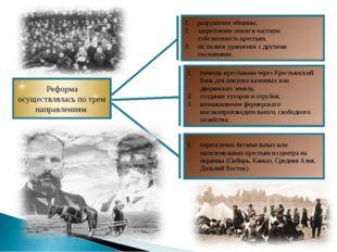 Реформа осуществлялась по трем направлениям: разрушение общины, закрепление з