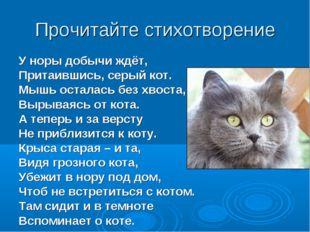Прочитайте стихотворение У норы добычи ждёт, Притаившись, серый кот. Мышь ост
