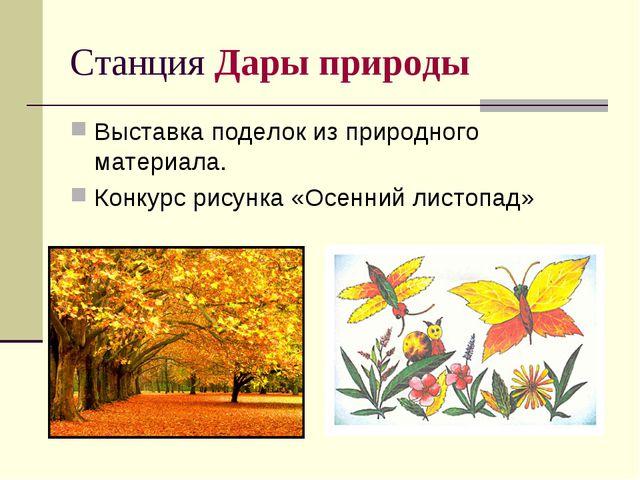 Станция Дары природы Выставка поделок из природного материала. Конкурс рисунк...