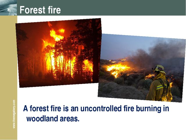 Forest fire A forest fire is an uncontrolled fire burning in woodland areas....