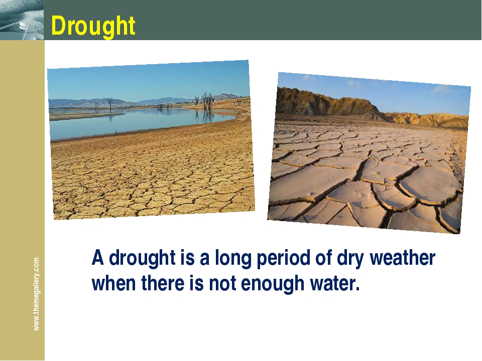 Drought A drought is a long period of dry weather when there is not enough wa...