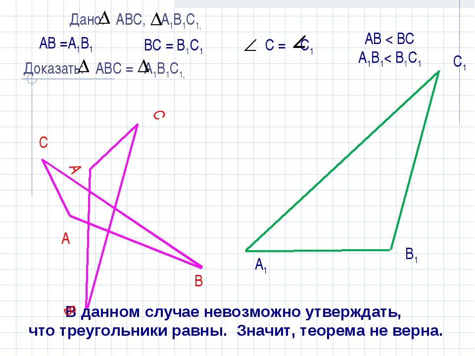 АВ =А1В1 ВС = В1С1 С1 А1 В1 В данном случае невозможно утверждать, что треуг...