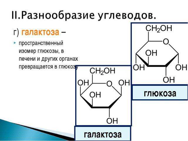 г) галактоза – пространственный изомер глюкозы, в печени и других органах пре...