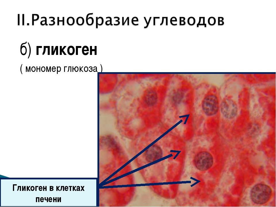 б) гликоген ( мономер глюкоза ) Гликоген в клетках печени