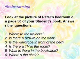 Brainstorming LookatthepictureofPeter'sbedroomonpage50ofyourStude