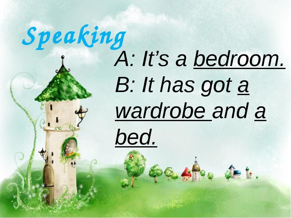 A: It's a bedroom. B: It has got a wardrobe and a bed. Speaking