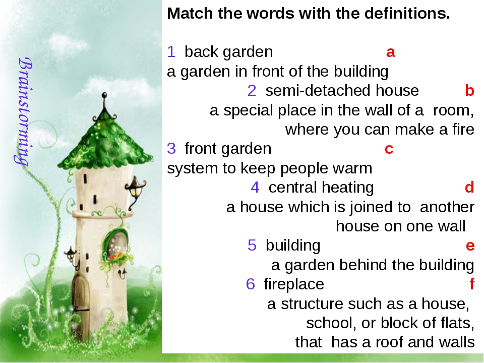 Matchthewordswiththedefinitions. 1 backgarden a agardeninfront...