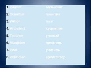 Painter Scientist Writer Architect Teacher Musician Poet Politician музыкант