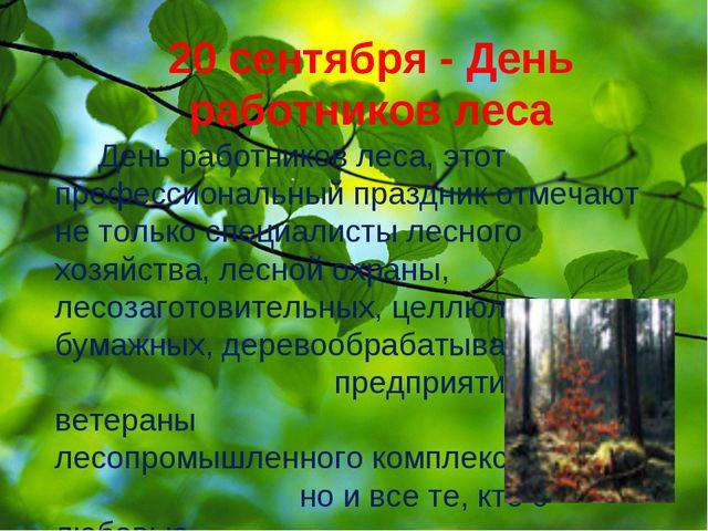20 сентября - День работников леса День работников леса, этот профессиональны...