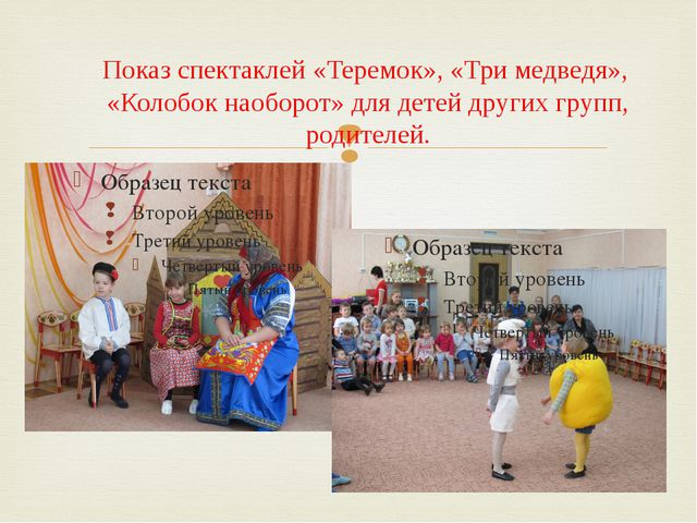 Показ спектаклей «Теремок», «Три медведя»,  «Колобок наоборот» для детей друг...