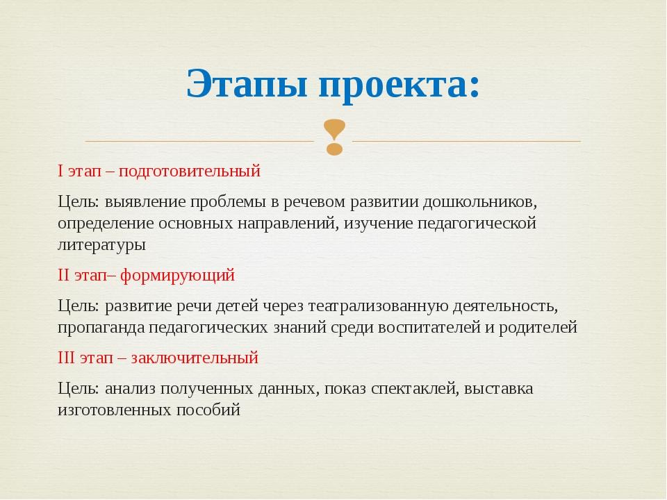 Этапы проекта: I этап – подготовительный Цель: выявление проблемы в речевом...