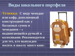 Виды школьного портфеля Тележка. С виду чемодан или кофр, дополненный констр